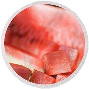 Diced Watermelon Round Beach Towel