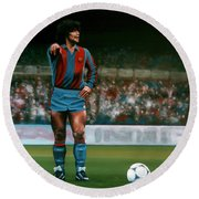 Diego Maradona Round Beach Towel by Paul Meijering