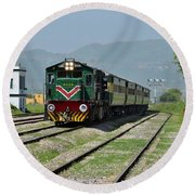 Round Beach Towel featuring the photograph Diesel Electric Locomotive Speeds Past Student by Imran Ahmed