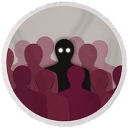 Different And Alone In Crowd Round Beach Towel