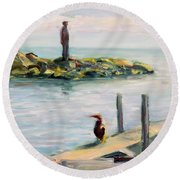 Different Views Round Beach Towel by Mary Schiros