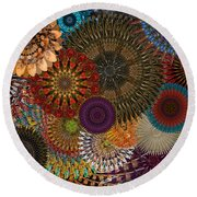 Digital Flowers 001 Round Beach Towel by Stuart Turnbull