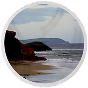 Digital Painting Of Smiths Beach Round Beach Towel