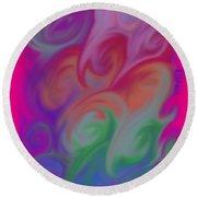 Digital Swirls Round Beach Towel