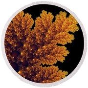 Digital Warm Golden Fractal Leaf Black Background Round Beach Towel