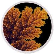 Digital Warm Golden Fractal Leaf Black Background Round Beach Towel