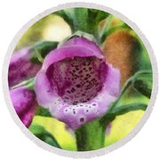 Digitalis Purpurea Round Beach Towel
