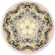 Round Beach Towel featuring the digital art Digmandala Simha by Derek Gedney