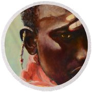 Round Beach Towel featuring the painting Dignity by Sher Nasser