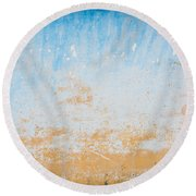 Dilapidated Beige And Blue Wall Texture Round Beach Towel