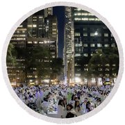 Diner En Blanc New York 2013 Round Beach Towel by Lilliana Mendez
