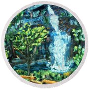 Dingman Falls Eastern Pennsylvania Round Beach Towel