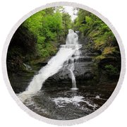 Round Beach Towel featuring the photograph Dingmans Falls by Trina  Ansel