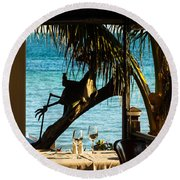 Dining For Two At Louie's Backyard Round Beach Towel