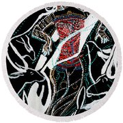 Round Beach Towel featuring the painting Dinka Dance by Gloria Ssali