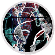 Round Beach Towel featuring the painting Dinka by Gloria Ssali