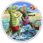 dinosaur fun playing Volleyball on a beach vacation Round Beach Towel