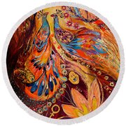 Diptych The Moments Of Love Part II Round Beach Towel