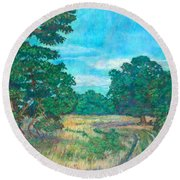 Round Beach Towel featuring the painting Dirt Road Near Rock Castle Gorge by Kendall Kessler