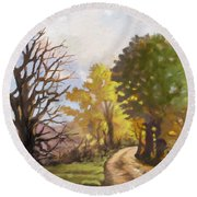 Round Beach Towel featuring the painting Dirt Road To Some Place by Anthony Mwangi