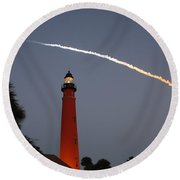 Discovery Booster Separation Over Ponce Inlet Lighthouse Round Beach Towel