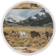 Discovery Horses Framed Round Beach Towel