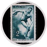 Discus Vintage Postage Stamp Print Round Beach Towel