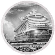 Round Beach Towel featuring the photograph Disney Fantasy by Howard Salmon