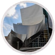 Round Beach Towel featuring the photograph Disney Hall by Gandz Photography