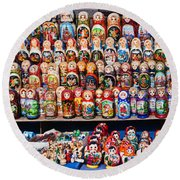 Display Of The Russian Nesting Dolls Round Beach Towel