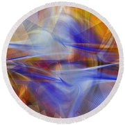 Distant Horizons - Digital Abstract Round Beach Towel by rd Erickson