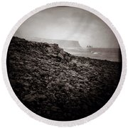 Distant Stacks Round Beach Towel
