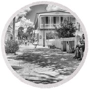 Round Beach Towel featuring the photograph Distraction by Howard Salmon