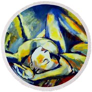 Round Beach Towel featuring the painting Distressful by Helena Wierzbicki
