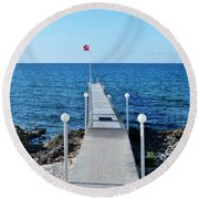 Divers Down Round Beach Towel by Amar Sheow