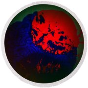 Round Beach Towel featuring the painting Divide by Jacqueline McReynolds