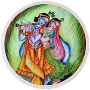Round Beach Towel featuring the painting Divine Lovers by Harsh Malik