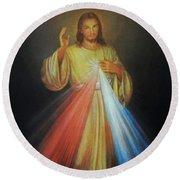 Divine Mercy Jesus Round Beach Towel