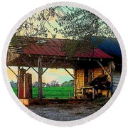 Round Beach Towel featuring the photograph Dixie Oil And Gasoline by Rodney Lee Williams