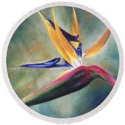 Round Beach Towel featuring the painting Dj's Flower by Lori Brackett