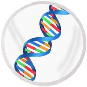 Dna Double Helix, Illustration Round Beach Towel