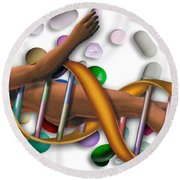 Dna Surrounded By Pills Round Beach Towel