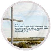 Belin Church Cross At Murrells Inlet With Bible Verse Round Beach Towel by Vizual Studio