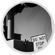 Do Not Stop Dancing On Tracks Round Beach Towel by Jason Politte
