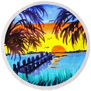 Dock At Sunset Round Beach Towel by Ecinja Art Works