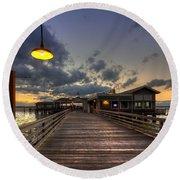Dock Lights At Jekyll Island Round Beach Towel