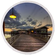Dock Lights At Jekyll Island Round Beach Towel
