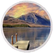 Round Beach Towel featuring the photograph Dock On Lake Mcdonald by Marty Koch