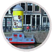 Round Beach Towel featuring the photograph Docked In Amsterdam by Allen Beatty