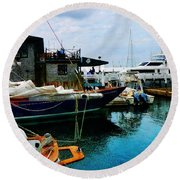 Round Beach Towel featuring the photograph Docked Boats In Newport Ri by Susan Savad
